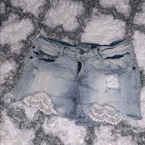 Hippie Laundry jean shorts w/embroidery design